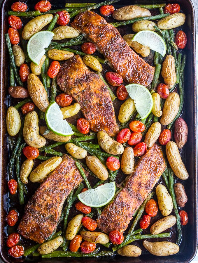 Sweet n' Spicy Salmon Sheet Pan Dinner