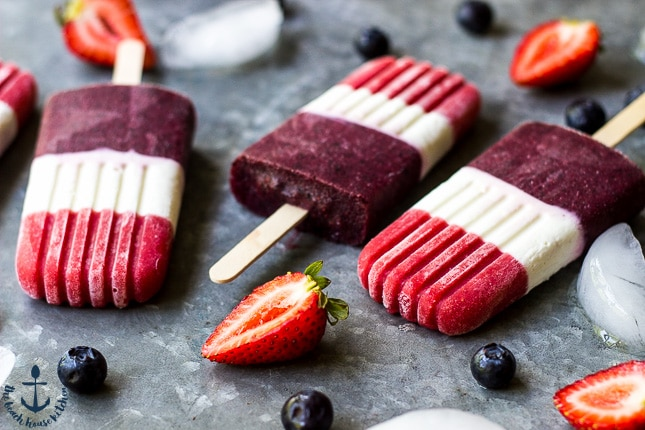 4th of July Berry Cheesecake Popsicles