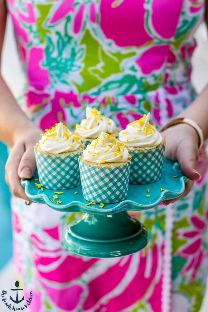 Lemon Cupcakes Filled with Lemon Curd Topped with Vanilla Buttercream