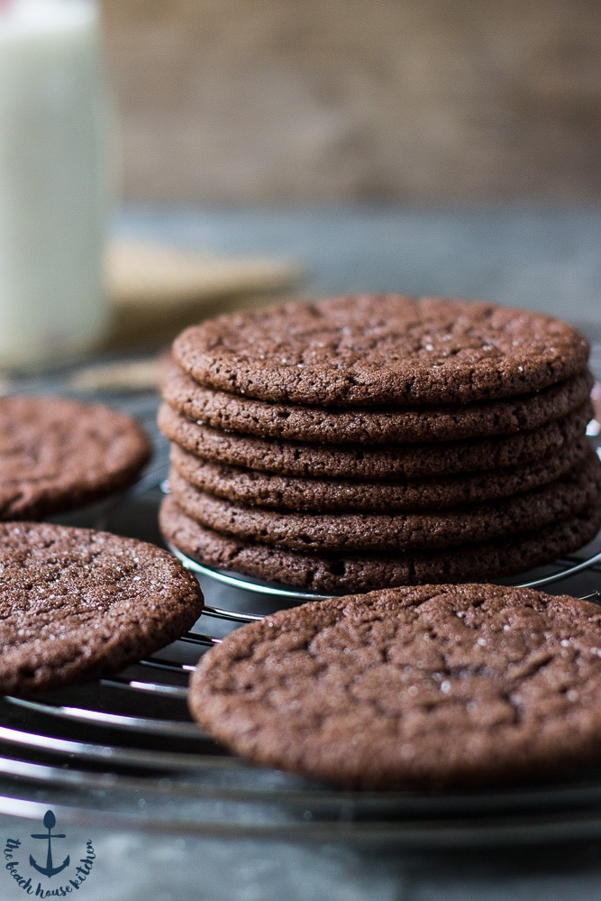 Up close photo of stack of Mexican Chocolate Cookies
