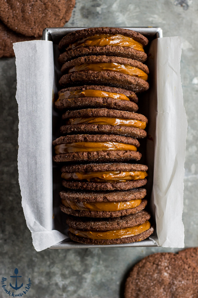 Mexican Chocolate Sandwich Cookies with Dulce de Leche Filling