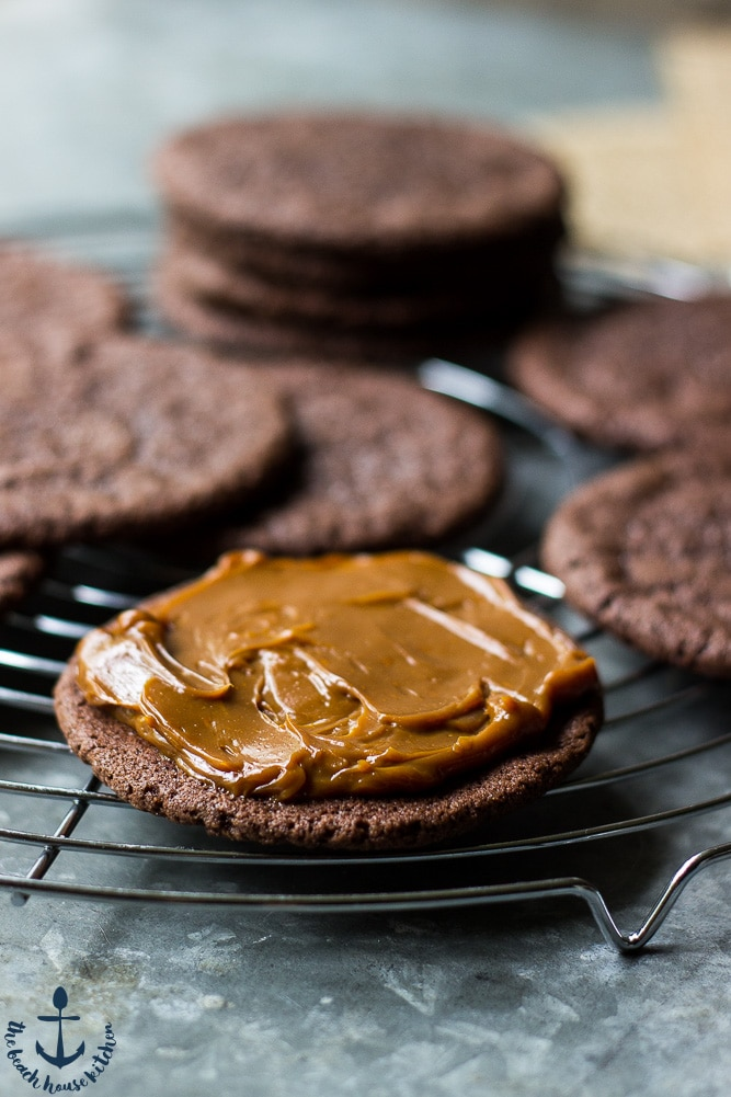 Open Mexican Chocolate Sandwich Cookies with Dulce de Leche Filling