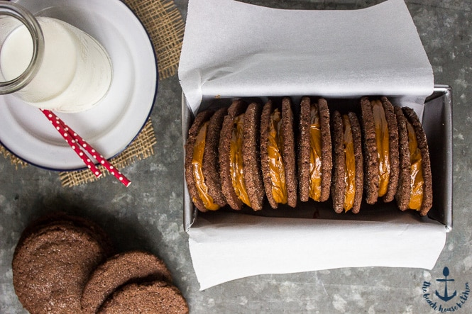 Overhead photo of Mexican Chocolate Sandwich Cookies with Dulce de Leche Filling in a loaf pan