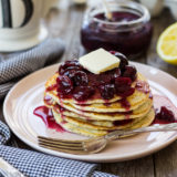 Lemon Poppyseed Pancakes with Cherry Compote