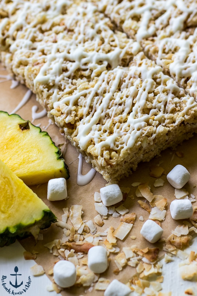 Tropical Rice Krispie Treats with Toasted Coconut and Pineapple