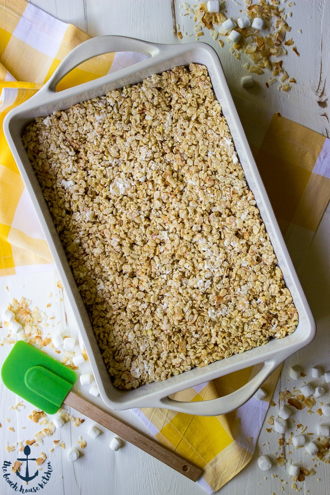 Tropical Rice Krispy Treats with Toasted Coconut and Pineapple