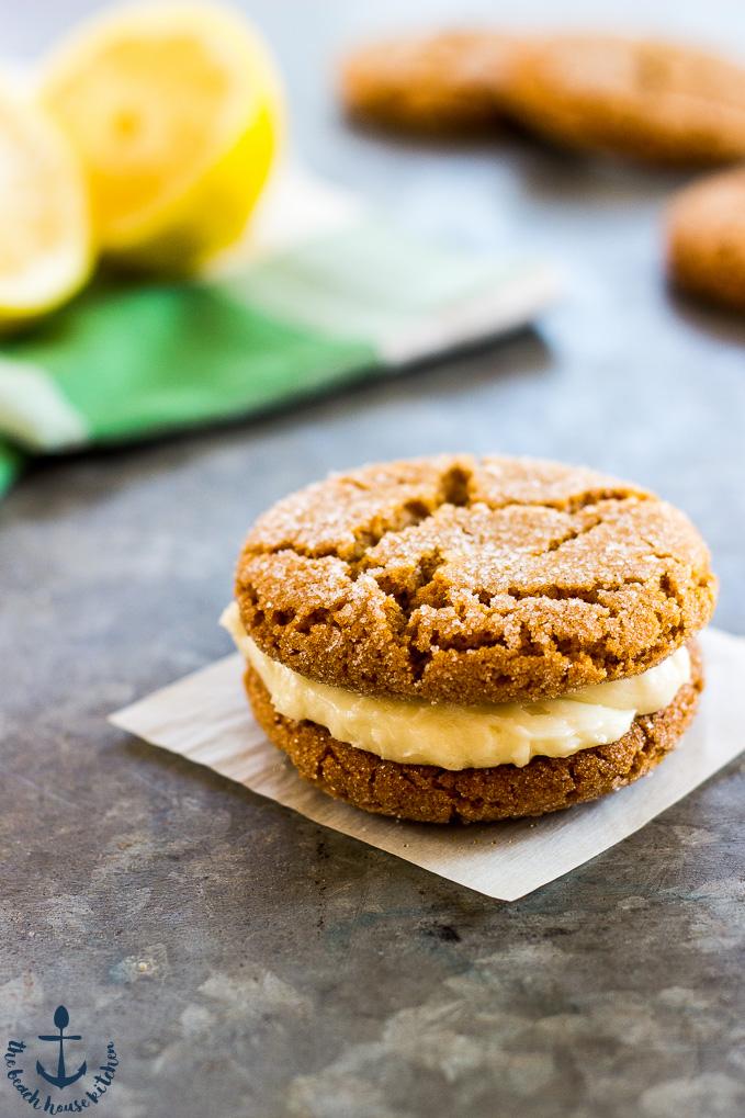Lemon Gingersnap Sandwich Cookies