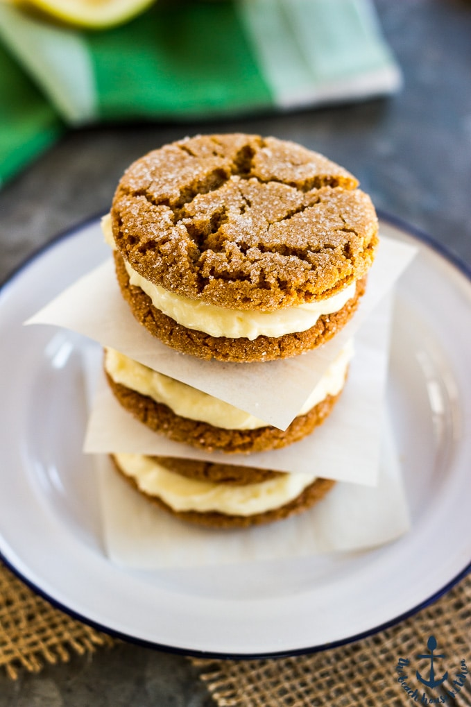 Lemon Gingersnap Sandwich Cookies
