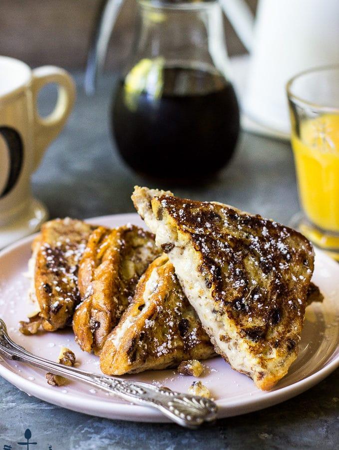 Walnut Cinnamon Cream Cheese Stuffed French Toast