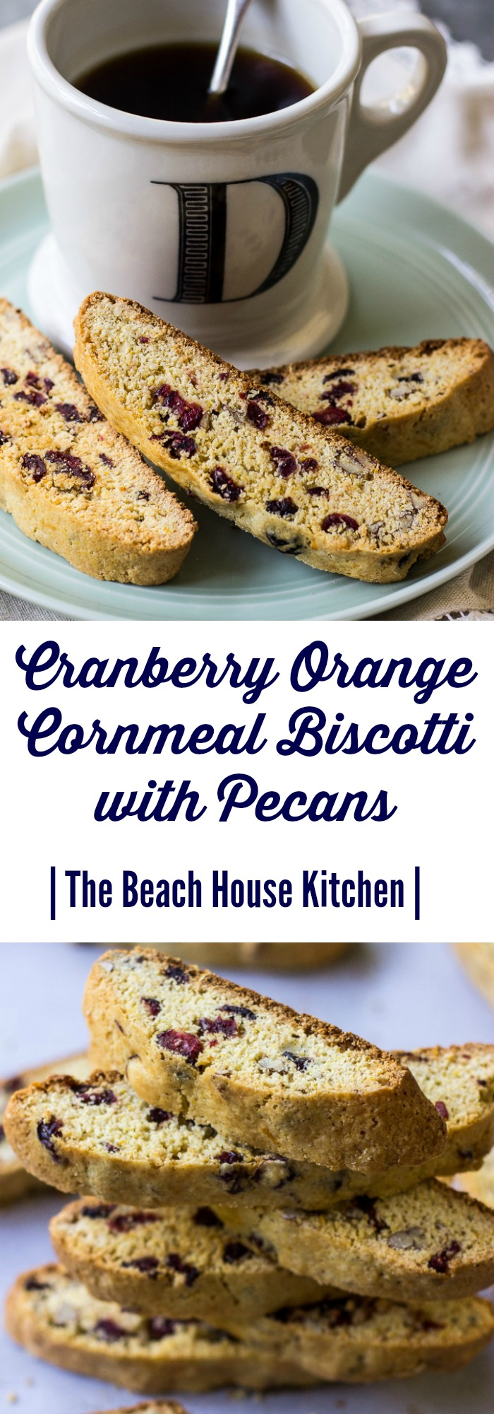 Cranberry Orange Cornmeal Biscotti with Pecans