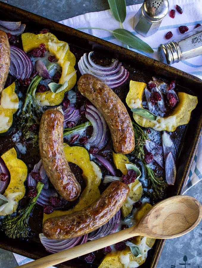 Sausage Acorn Squash Sheet Pan Dinner