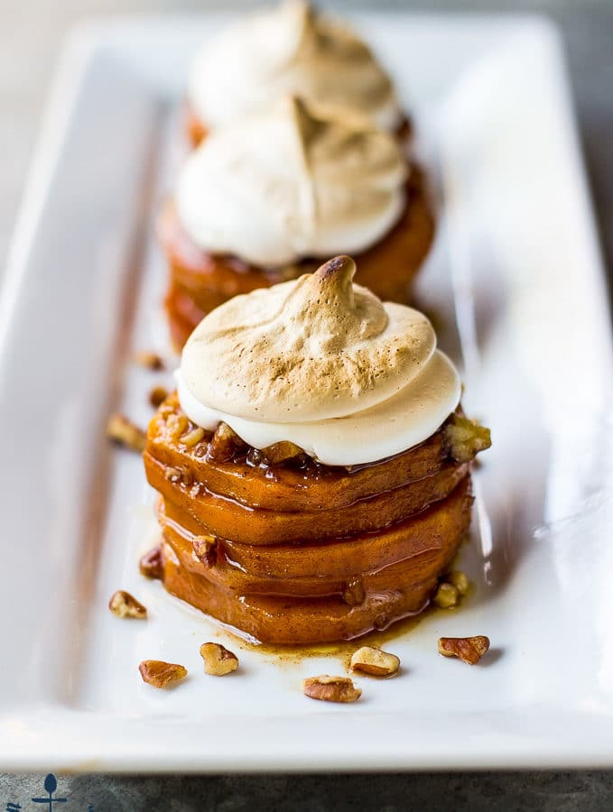 Sweet Potato Stacks with Toasted Marshmallow Creme