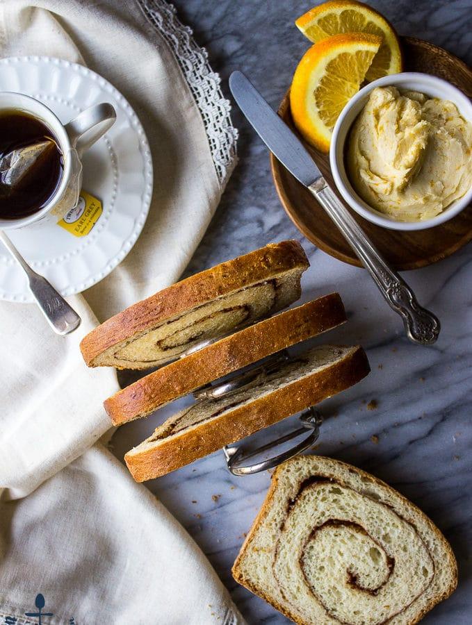 Cinnamon Swirl Bread with Orange Maple Butter