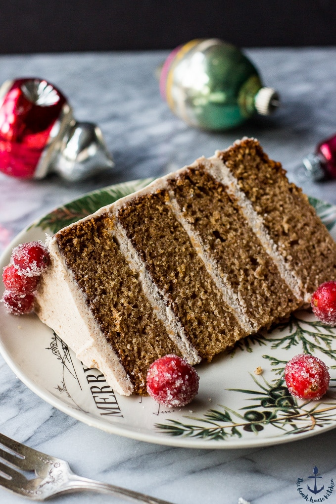 Spiced Layer Cake with Cinnamon Buttercream Frosting and Sugared Cranberries