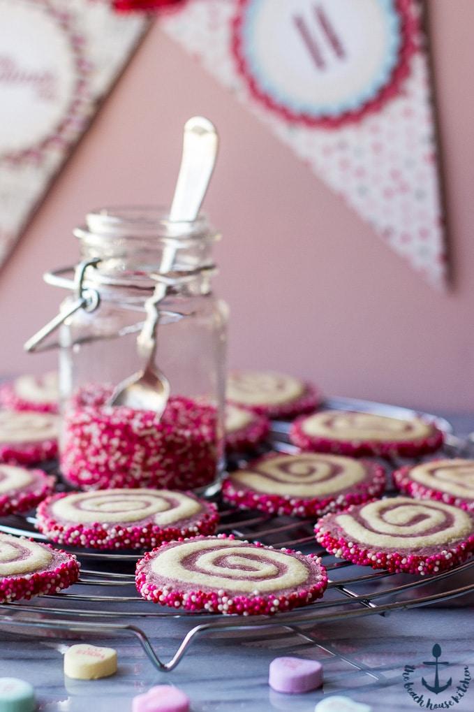 Valentine's Raspberry Pinwheel Cookies