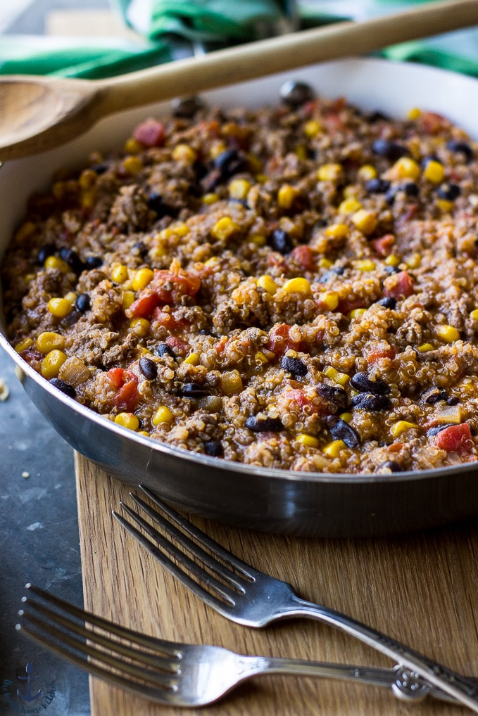 Beef and Quinoa Enchilada Skillet