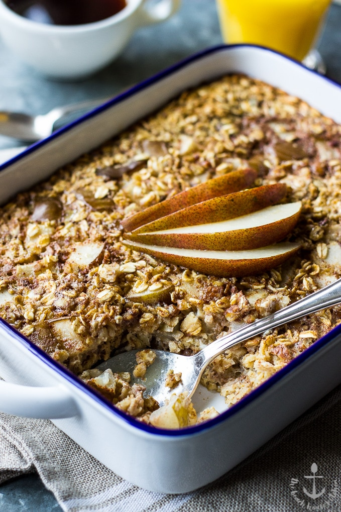 Easy Cherry Pear Baked Oatmeal