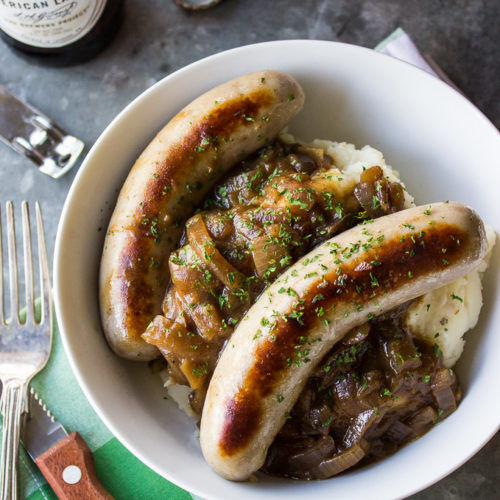 Bangers & Mash with Guinness Onion Gravy