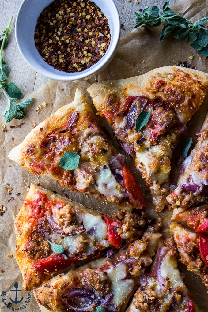 Spicy Sausage Pizza with Roasted Red Pepper and Onion