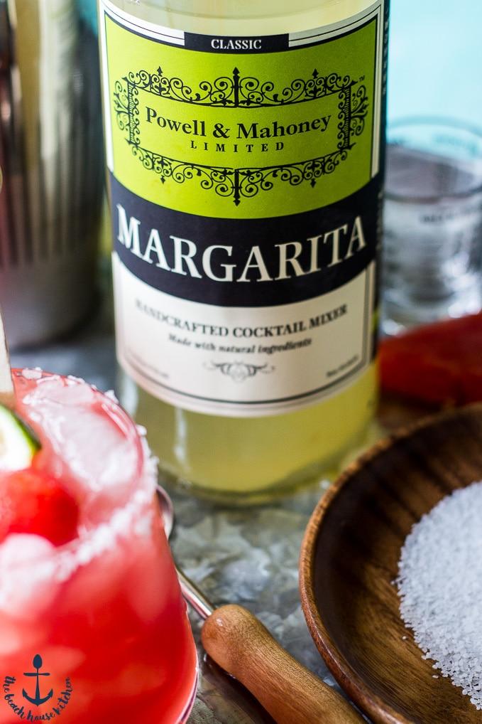 Margarita Mixer bottle on a silver tray