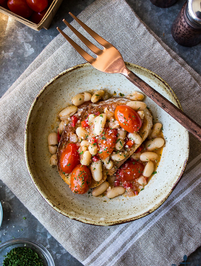 White Bean & Tomato Ragout Over Ciabatta