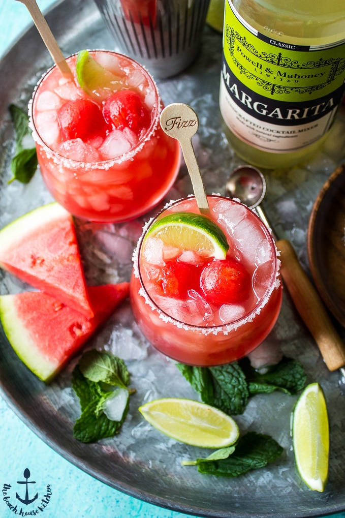 Watermelon Mint Margaritas on a silver tray