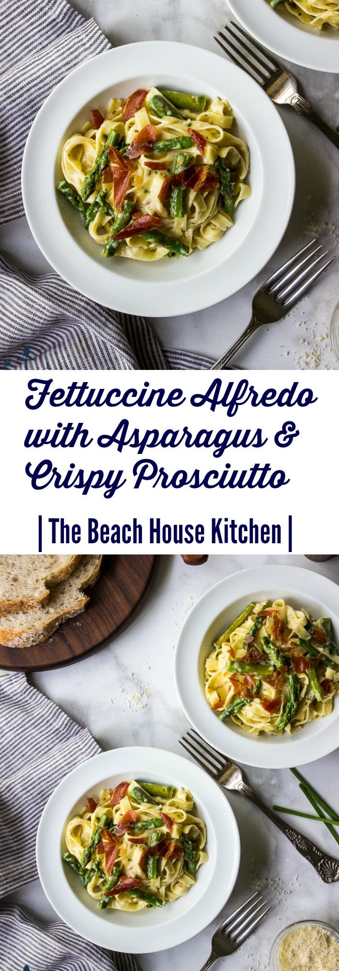 Fettucine Alfredo with Asparagus & Crispy Prosciutto
