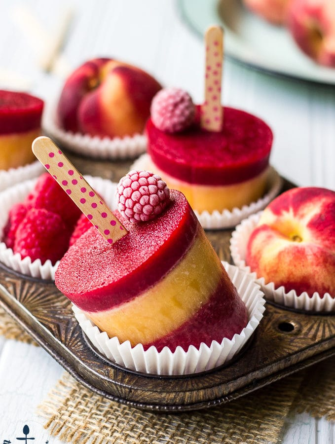 Raspberry Peach Popsicles