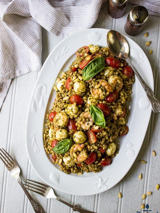 Farro Caprese Salad with Shrimp