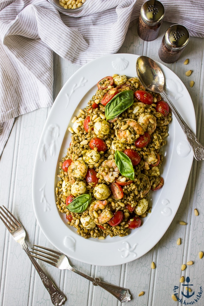 Farro Caprese Salad with Shrimp