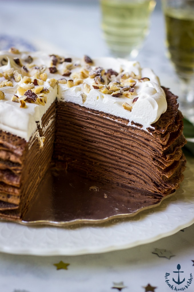Photo showing layers of Double Chocolate Hazelnut Crepe Cake.