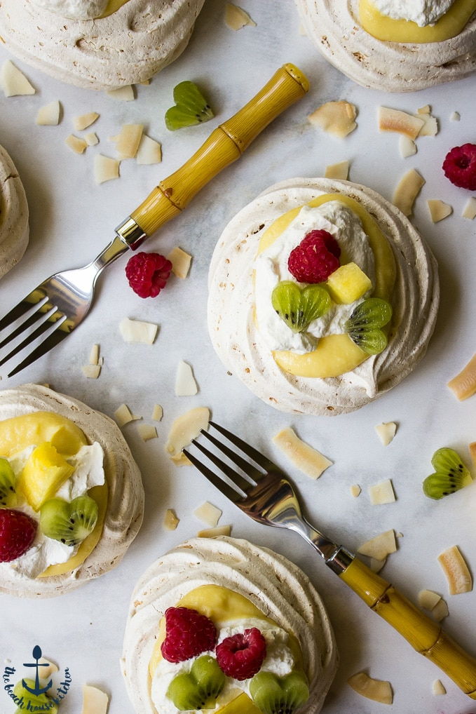 Coconut Pavlovas with Pineapple Curd and Fresh Fruit
