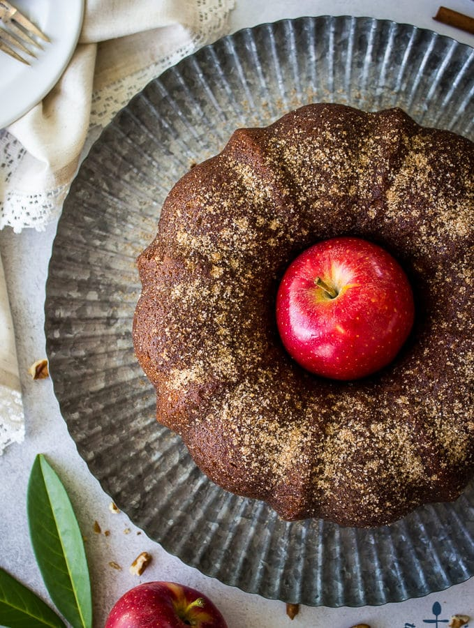 Apple Cider Doughnut Bundt Cake with Pecan Brown Sugar Ripple