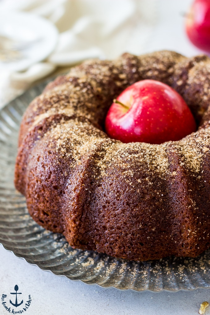 Up close photo of Apple Cider Doughnut Bundt Cake with Pecan Brown Sugar Ripple with red apple in middle of cake.