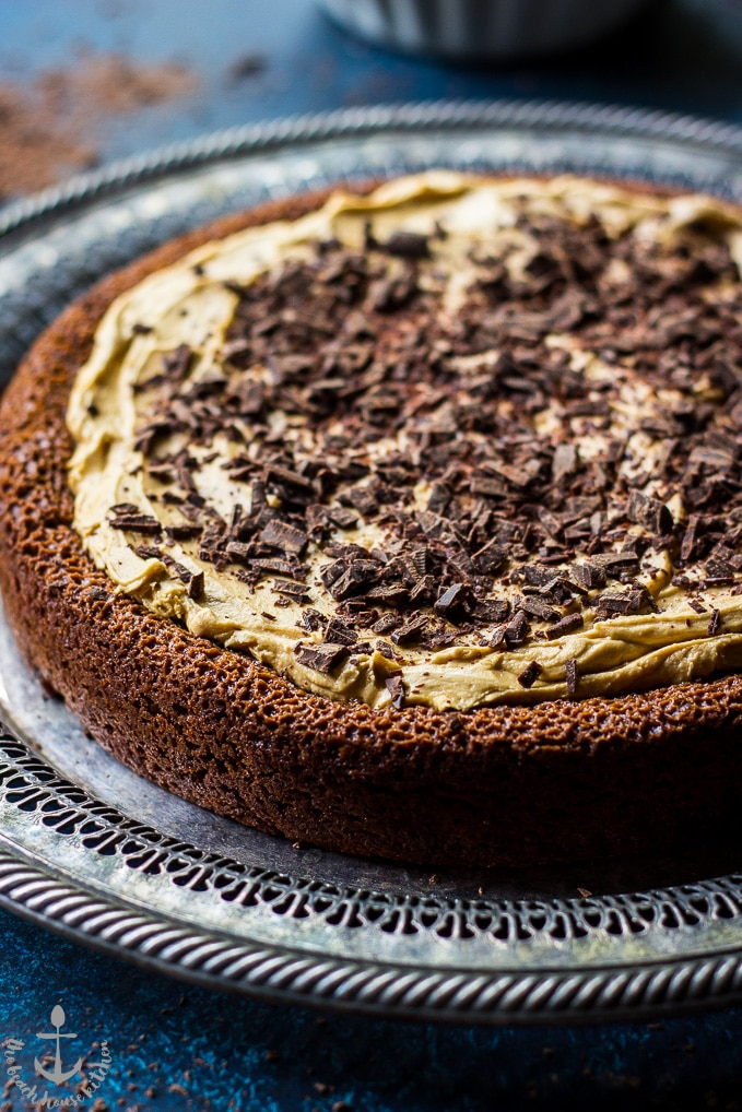 Speculoos Brownie Cake on a silver tray.