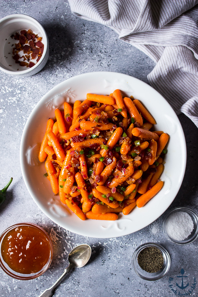 Apricot Glazed Carrots with Bacon and Jalapenos