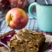 Caramel Glazed Apple Butter Blondies