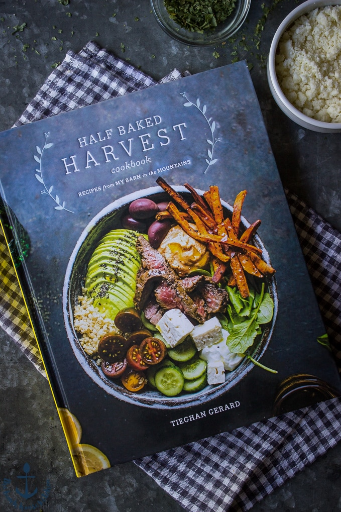 Copy of Half Baked Harvest Cookbook on a checked napkin.