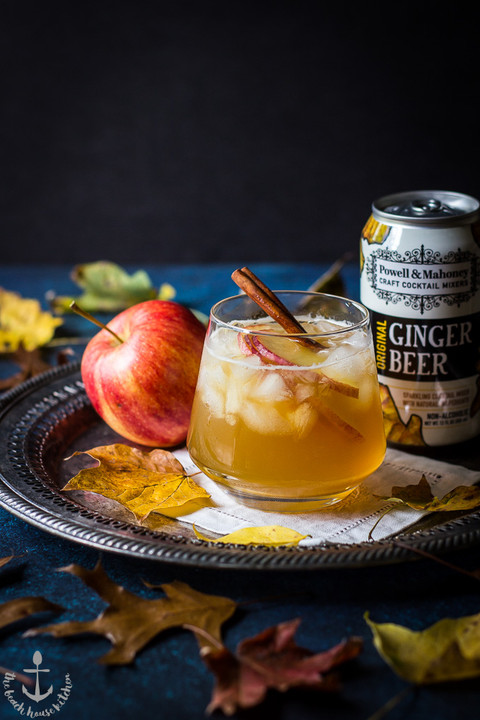 The Fall Dark 'N' Stormy cocktail on a silver tray with an apple and a can of ginger beer.