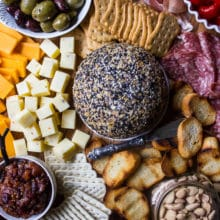 Epic Holiday Cheese Board with Everything Cheddar Horseradish Cheese Ball