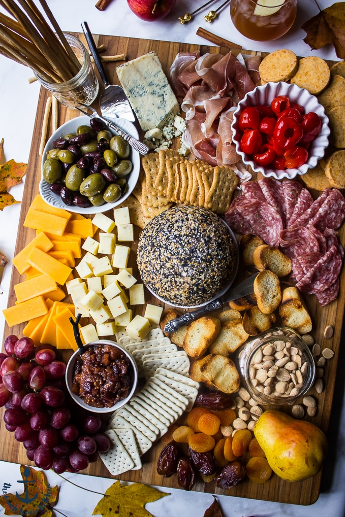 Epic Fall Cheese Board with Everything Cheddar Horseradish Cheese Ball