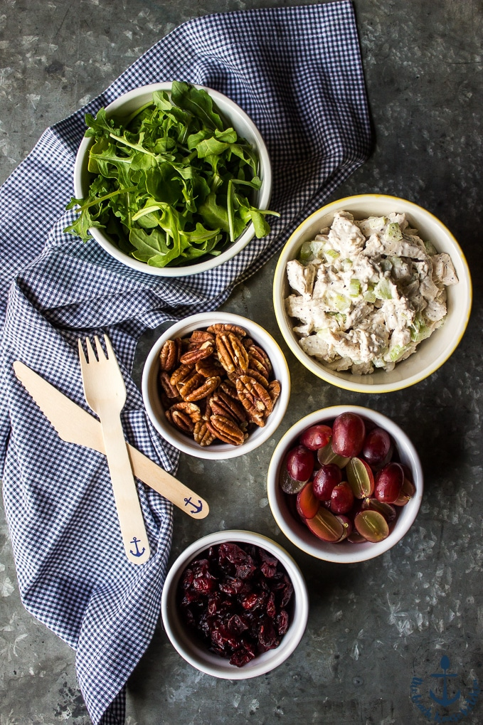 Ingredients for Turkey Salad with Grapes, Pecans and Cranberries in a Jar in individual bowls with knife and fork.