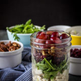 Turkey Salad with Grapes, Pecans and Cranberries in a Jar