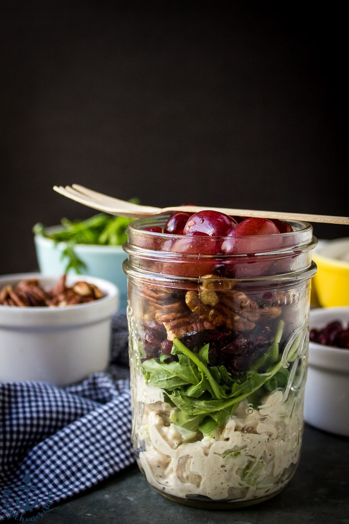 Turkey Salad with Grapes, Pecans and Cranberries in a Jar with fork on top with blue and white checked napkin.