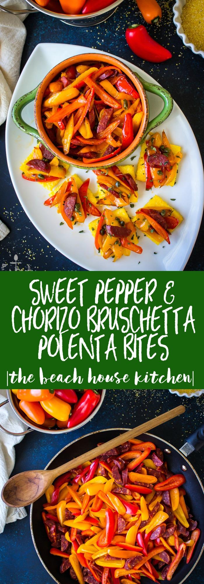 Sweet Pepper & Chorizo Bruschetta Polenta Bites