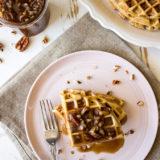 Easy Pecan Waffles with Pecan Praline Sauce