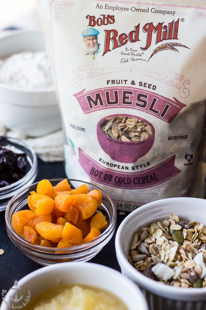 Photo of Bob's Red Mill Fruit and Seed Muesli bag and dried apricots and some muesli in bowls.