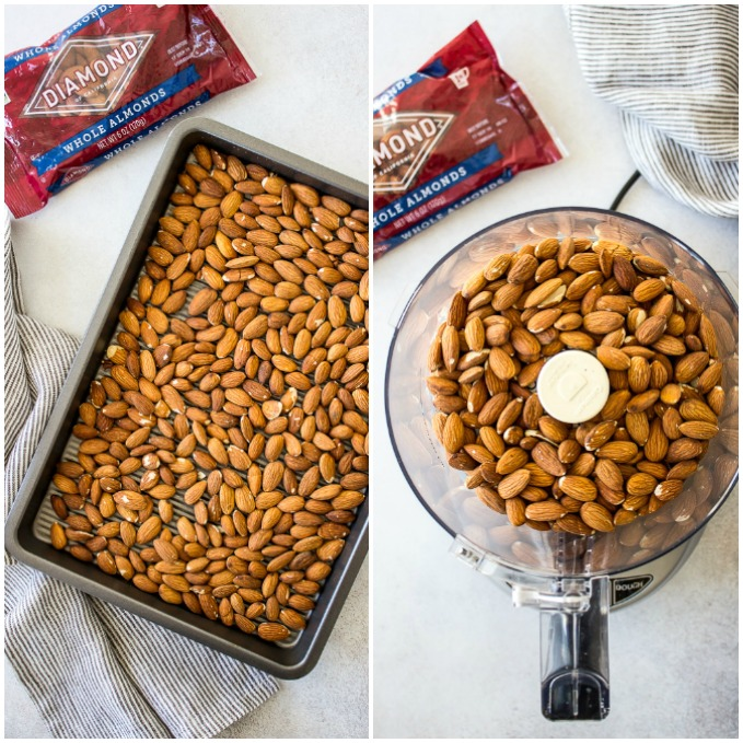 Two side by side photos of almonds on a baking sheet and almonds in a food processor.
