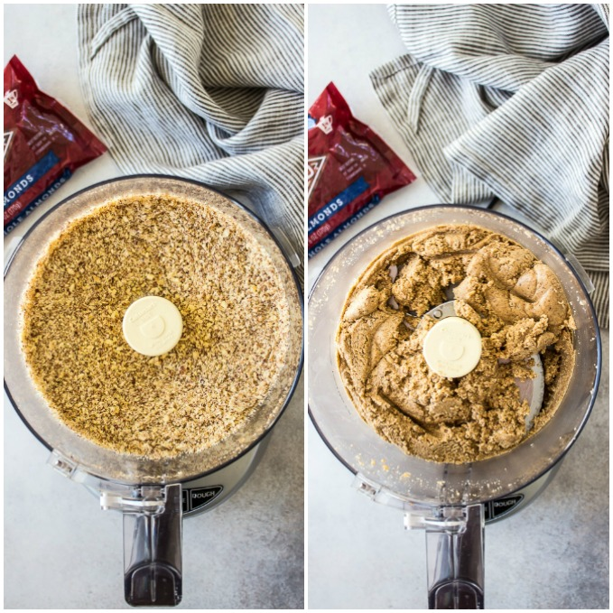 Two side by side overhead photos of almonds in a food processor.