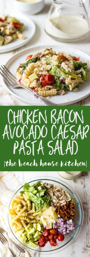 Chicken Bacon Avocado Caesar Pasta Salad on a white plate and the ingredients of the pasta salad in a glass bowl.